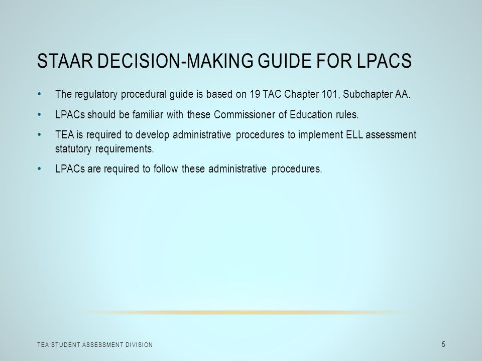 STAAR Decision-making guide for LPACs