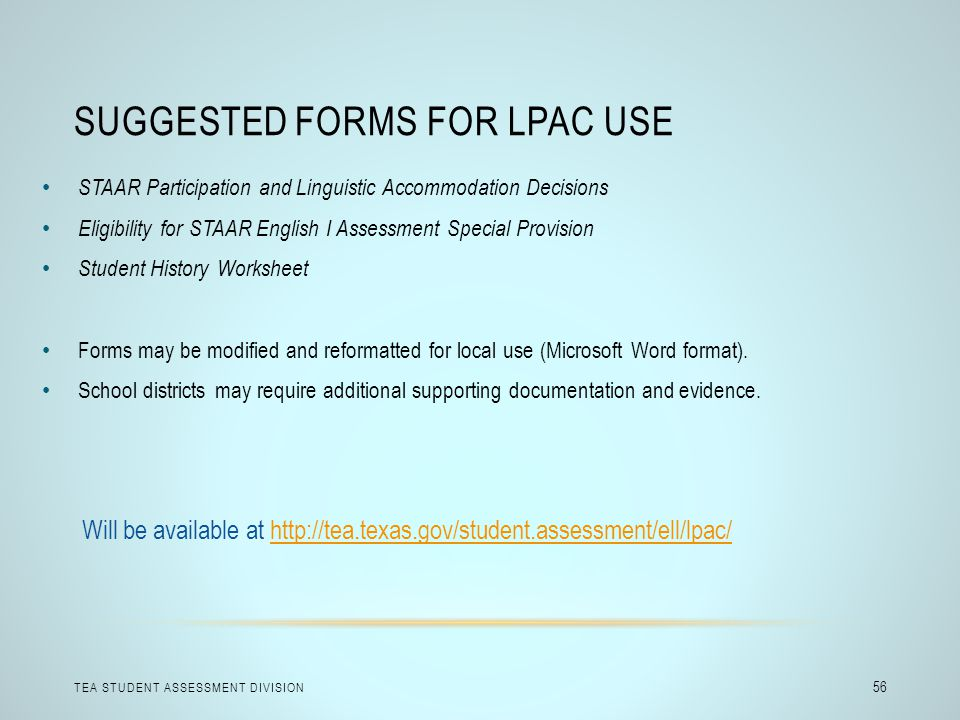 Suggested Forms for LPAC Use