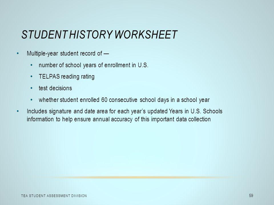Student History Worksheet
