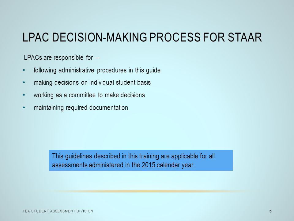 LPAC Decision-Making Process for STAAR