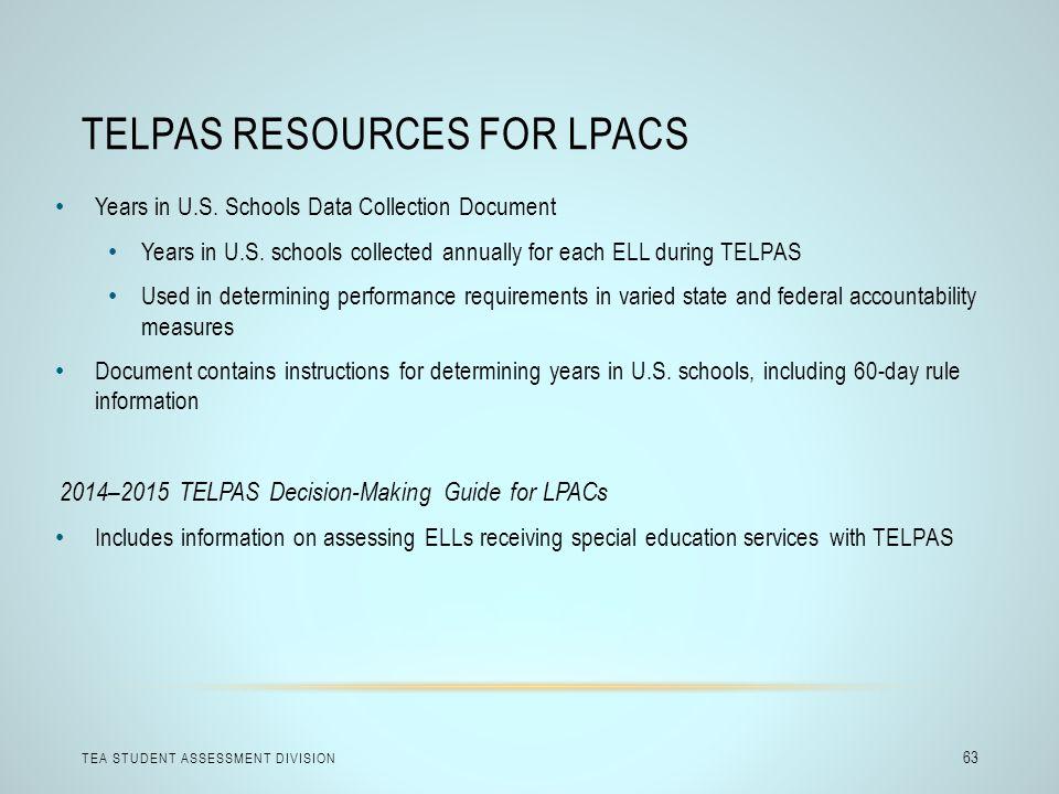 TELPAS Resources for LPACs