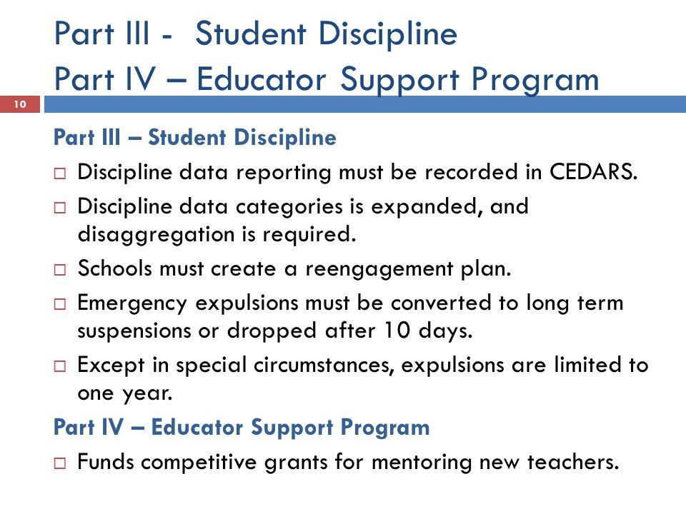 Part III - Student Discipline Part IV – Educator Support Program
