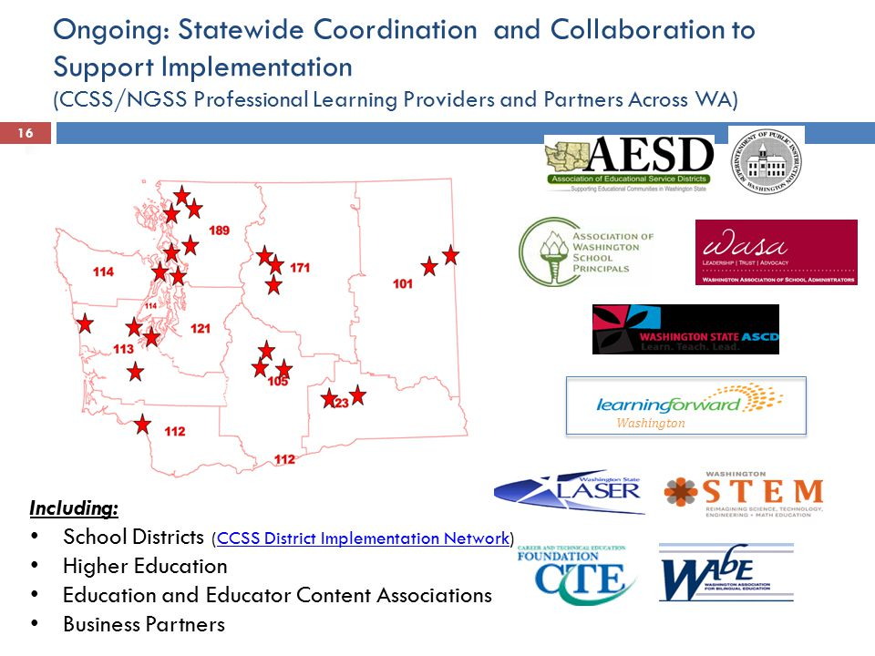Ongoing: Statewide Coordination and Collaboration to Support Implementation (CCSS/NGSS Professional Learning Providers and Partners Across WA)