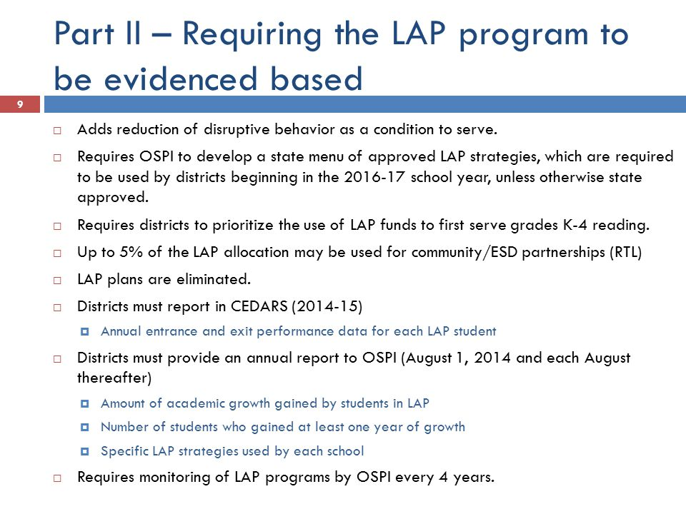 Part II – Requiring the LAP program to be evidenced based