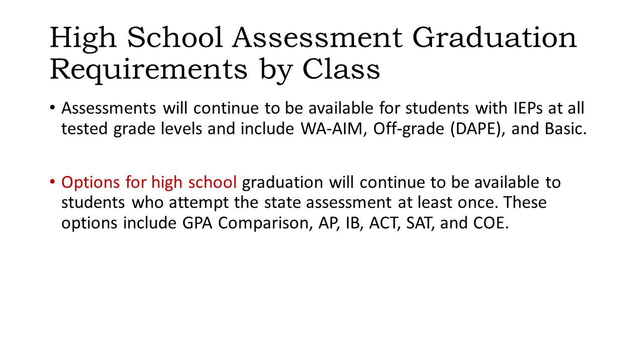 High School Assessment Graduation Requirements by Class