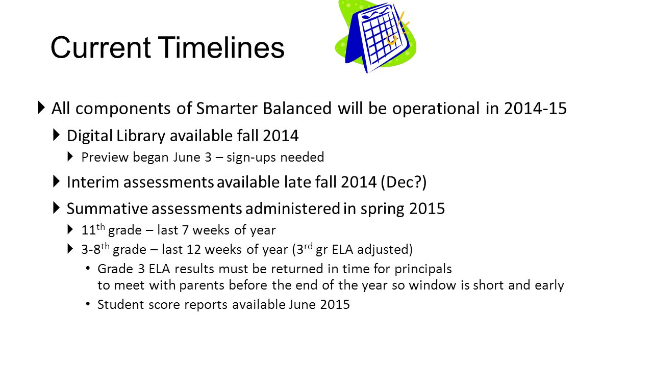 Current Timelines All components of Smarter Balanced will be operational in 2014-15. Digital Library available fall 2014.