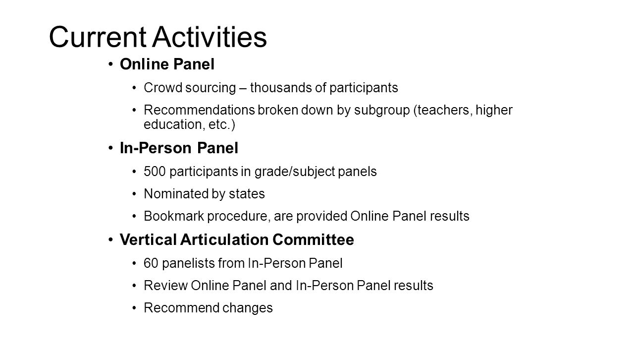 Current Activities Online Panel In-Person Panel