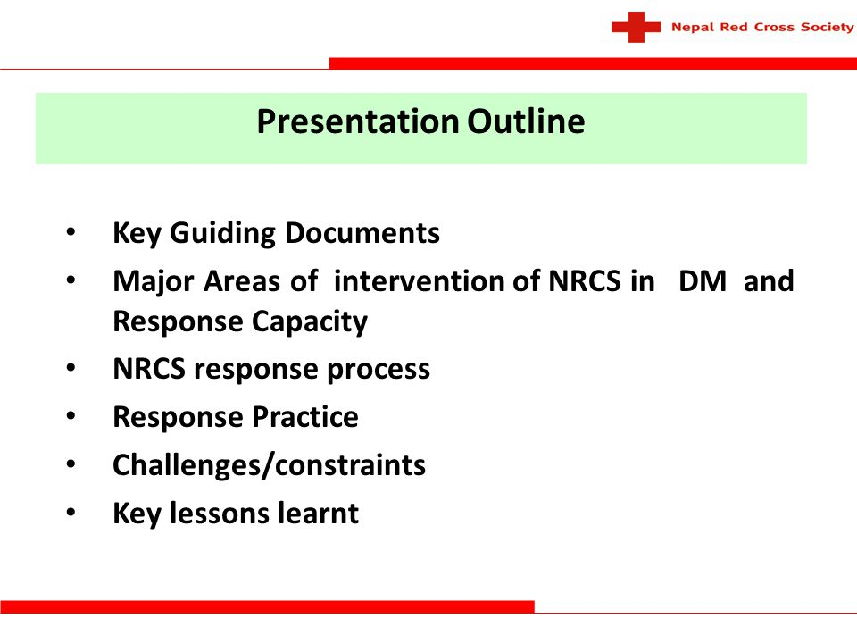 Presentation Outline Key Guiding Documents