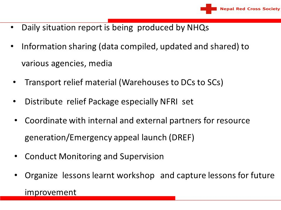 Daily situation report is being produced by NHQs