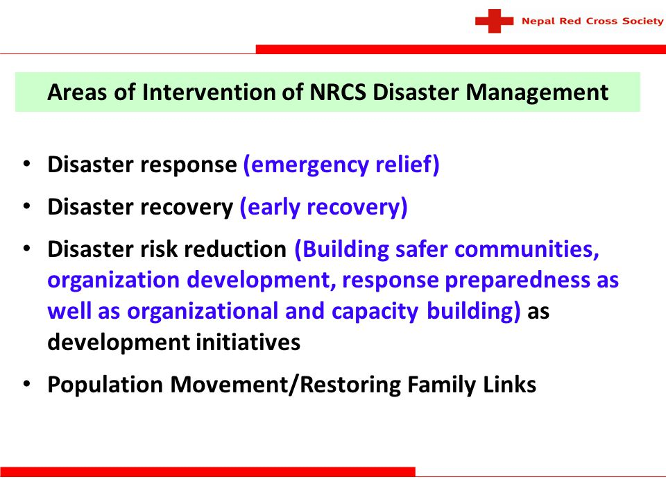 Areas of Intervention of NRCS Disaster Management