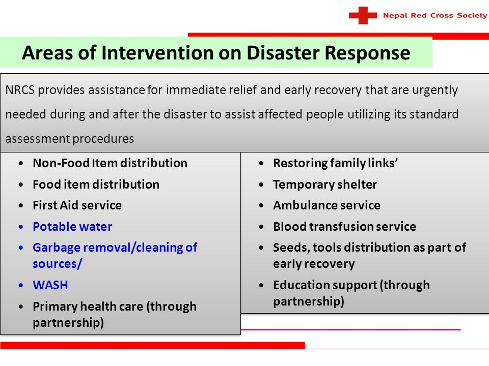 Areas of Intervention on Disaster Response