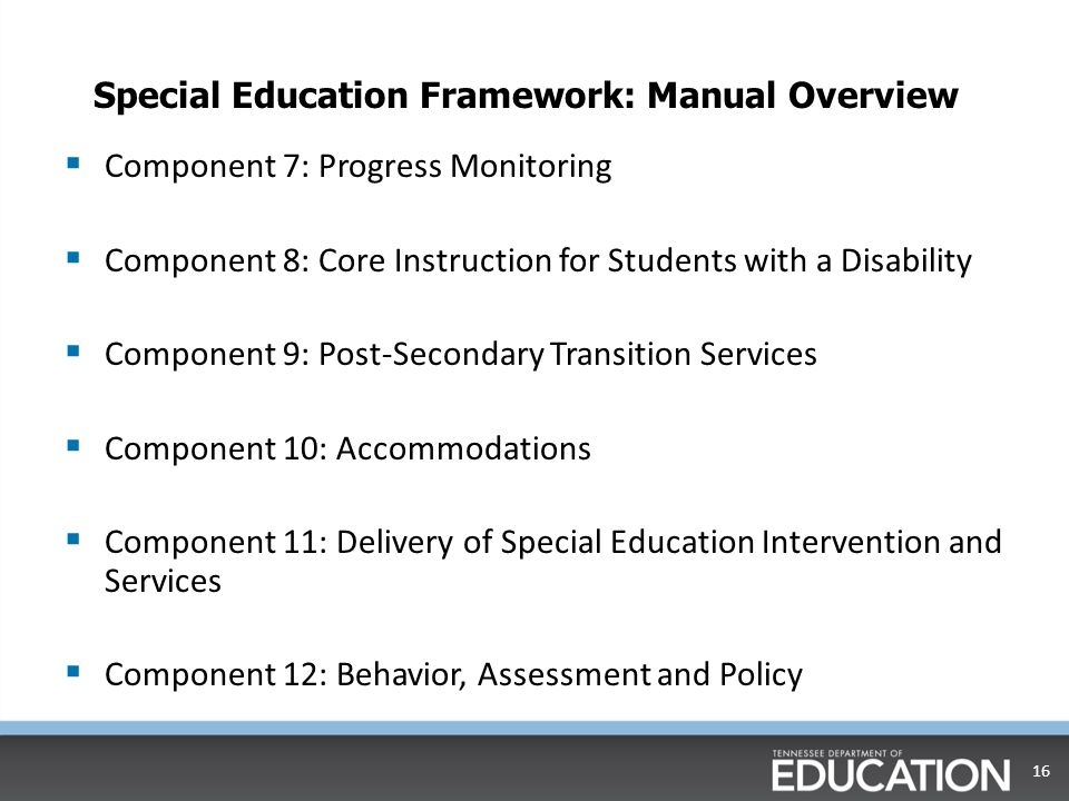Special Education Framework: Manual Overview