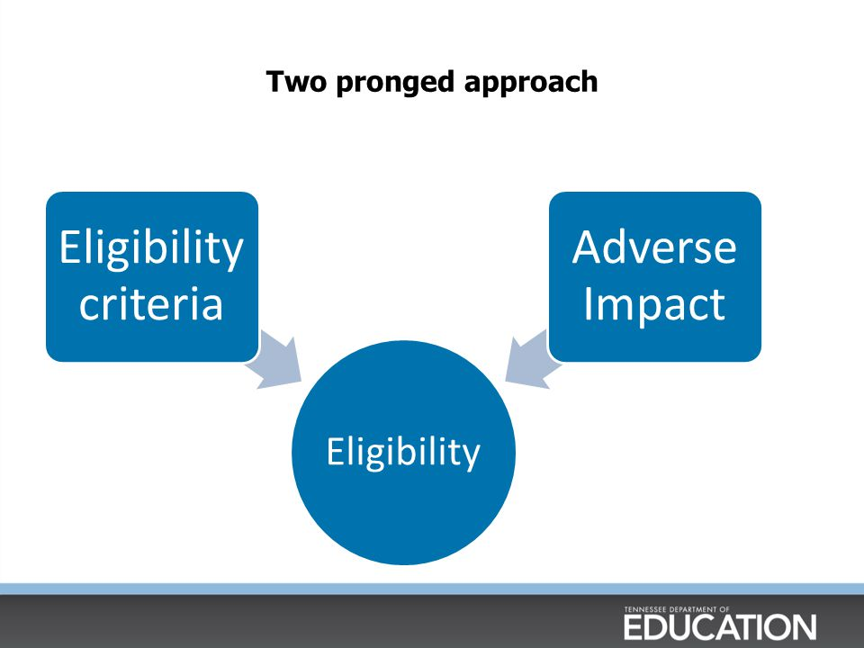 Two pronged approach Eligibility Eligibility criteria Adverse Impact