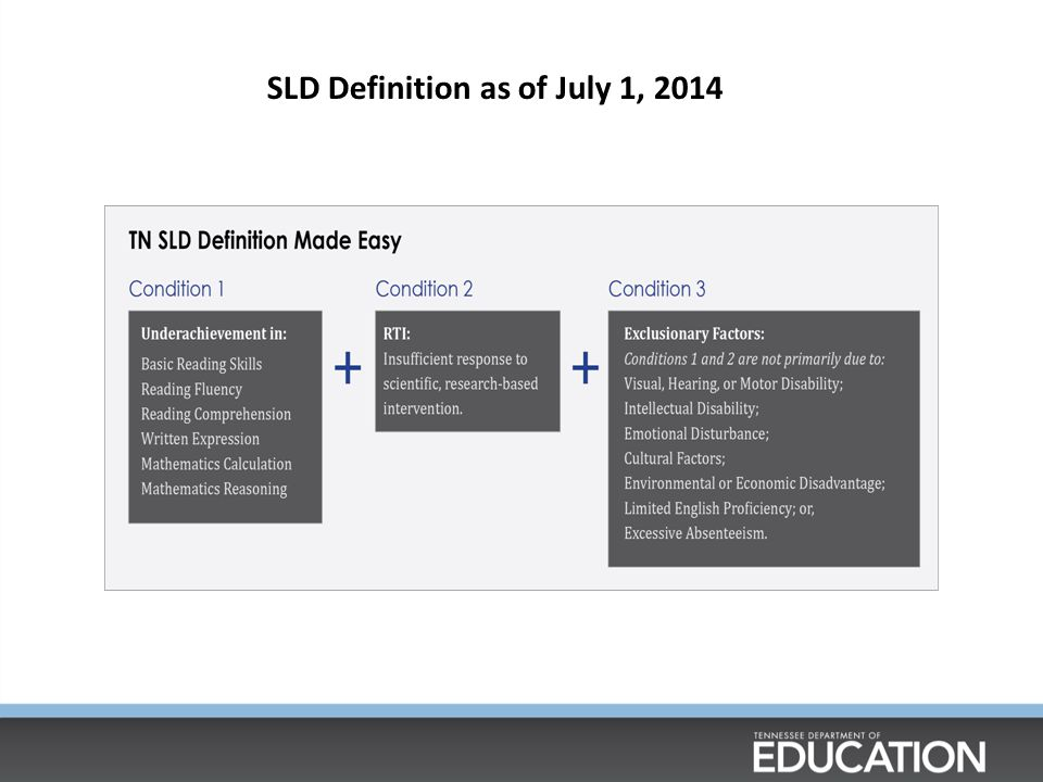 SLD Definition as of July 1, 2014