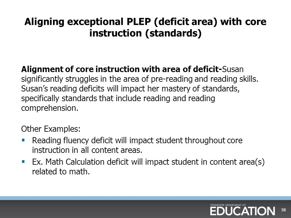 Aligning exceptional PLEP (deficit area) with core instruction (standards)