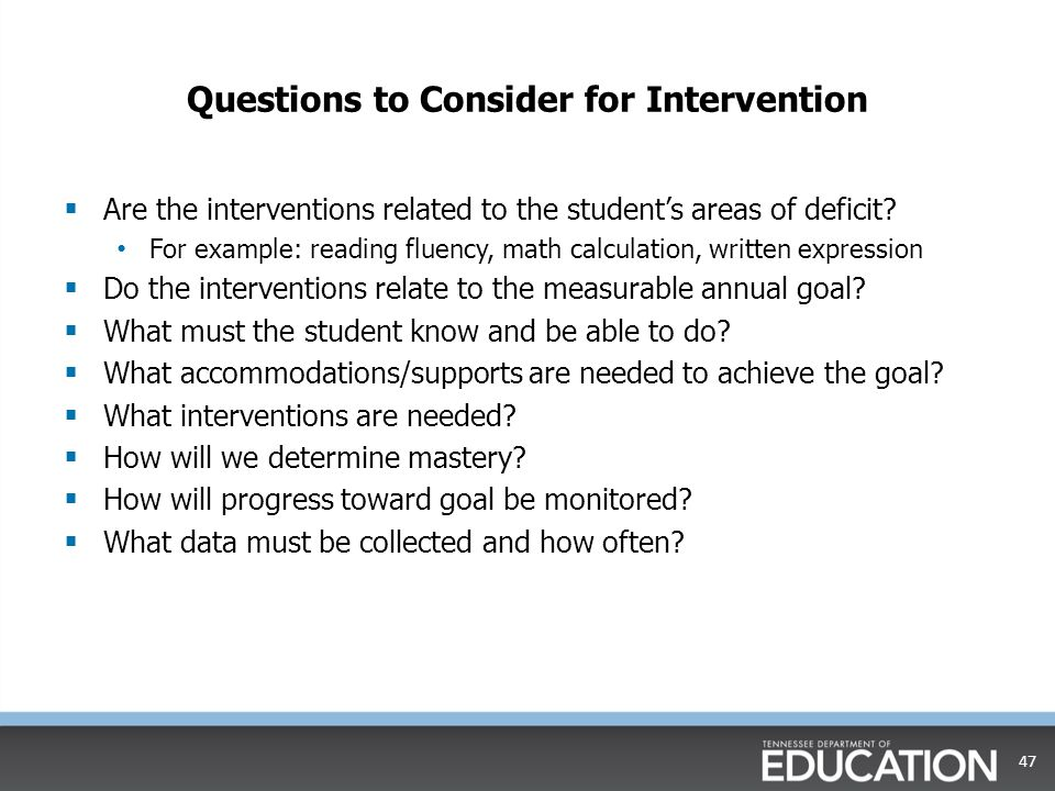 Questions to Consider for Intervention
