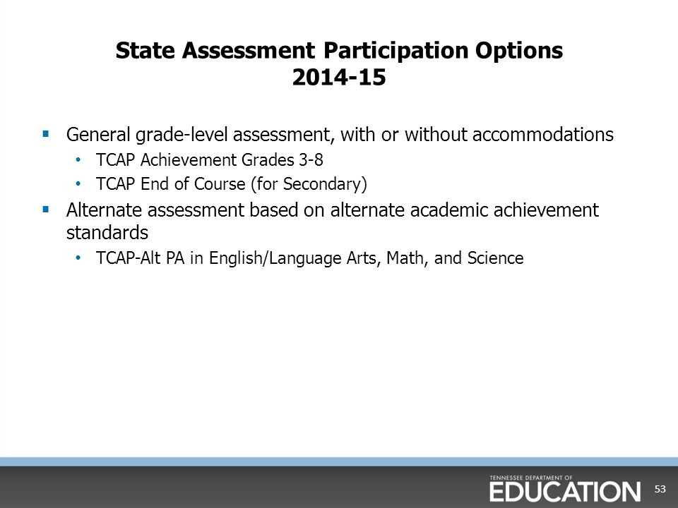 State Assessment Participation Options 2014-15