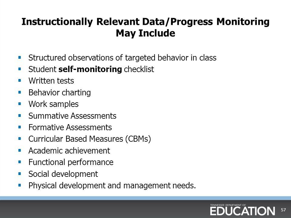 Instructionally Relevant Data/Progress Monitoring May Include