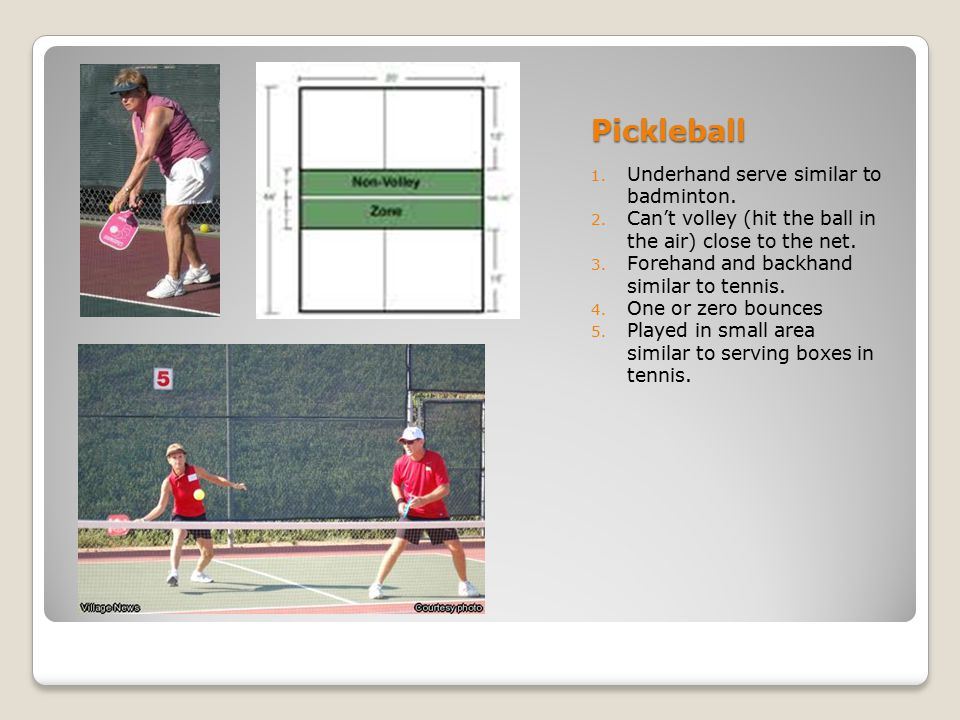 Pickleball Underhand serve similar to badminton.