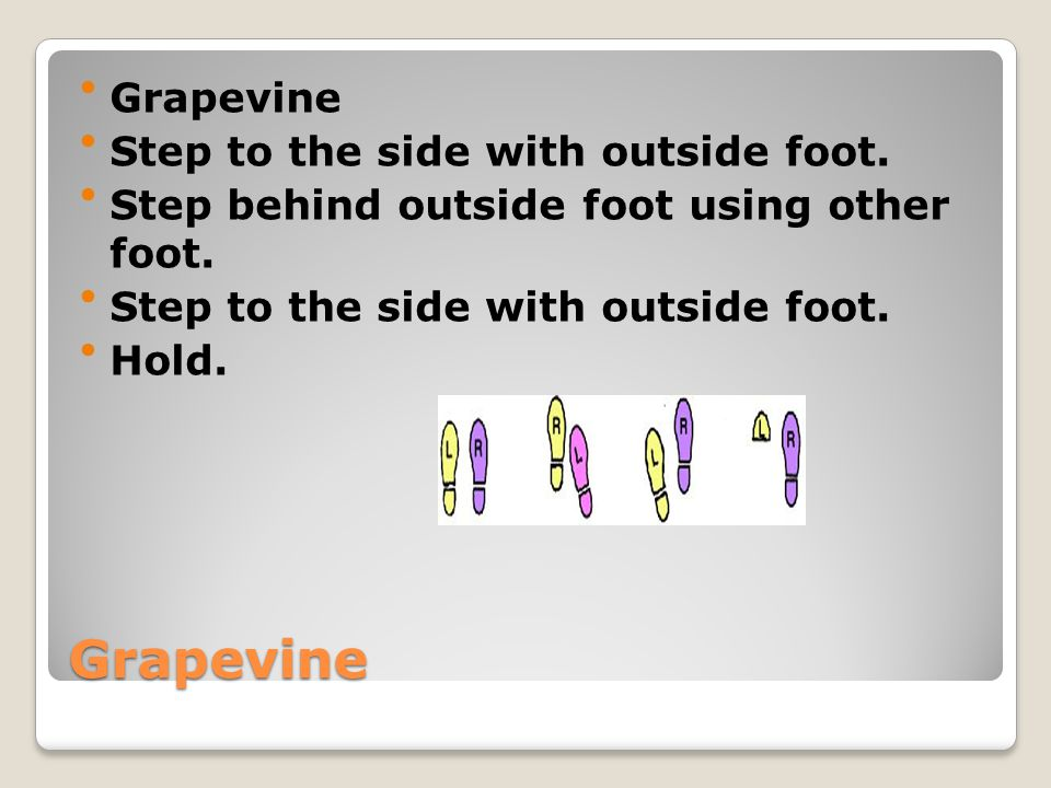 Grapevine Grapevine Step to the side with outside foot.