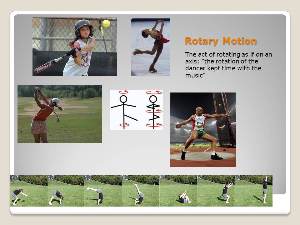 Rotary Motion The act of rotating as if on an axis; the rotation of the dancer kept time with the music