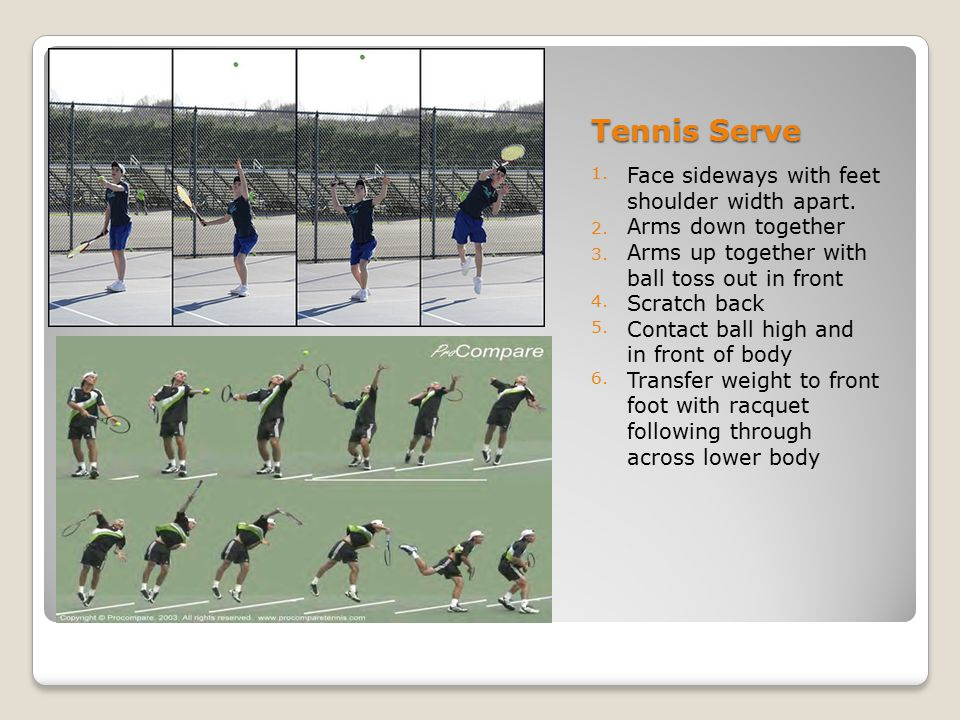 Tennis Serve Face sideways with feet shoulder width apart.