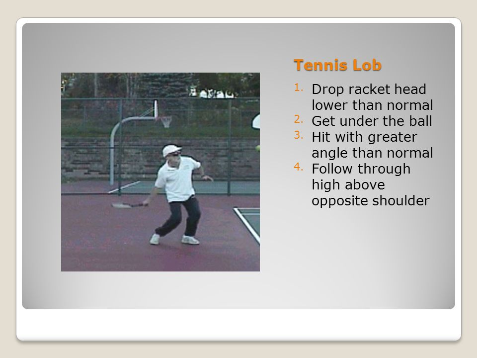 Tennis Lob Drop racket head lower than normal Get under the ball