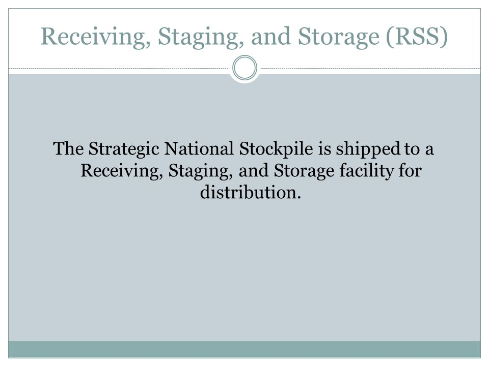 Receiving, Staging, and Storage (RSS)