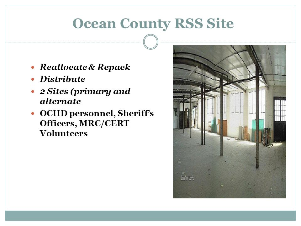 Ocean County RSS Site Reallocate & Repack Distribute