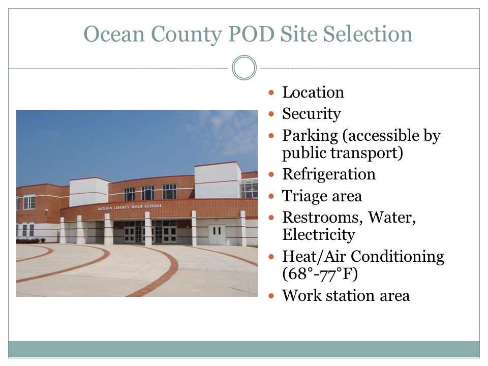 Ocean County POD Site Selection