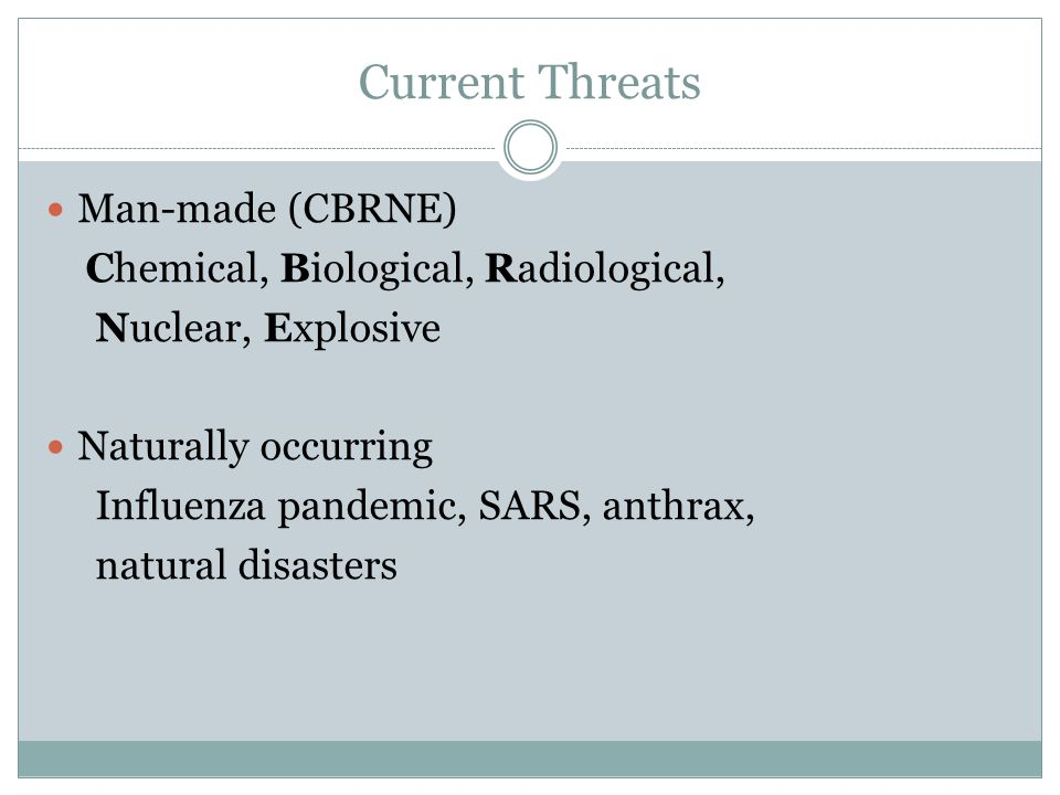 Current Threats Man-made (CBRNE) Chemical, Biological, Radiological,