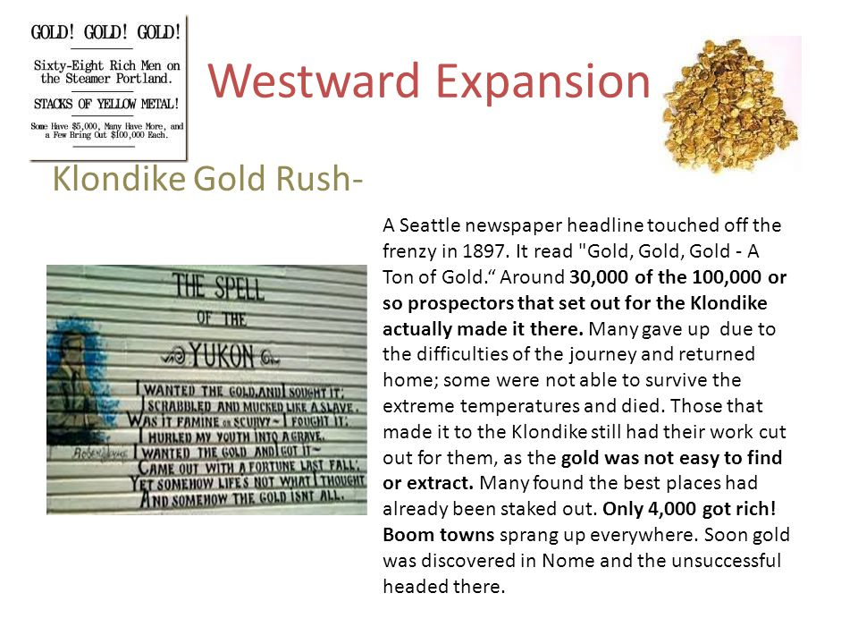 Westward Expansion Klondike Gold Rush-