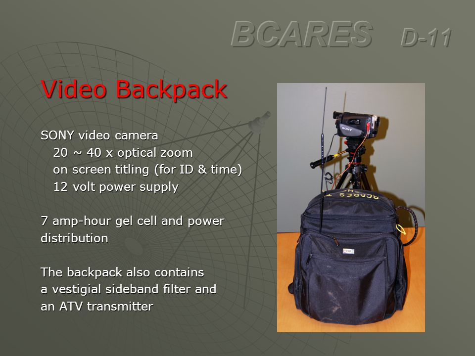 BCARES D-11 Video Backpack SONY video camera 20 ~ 40 x optical zoom