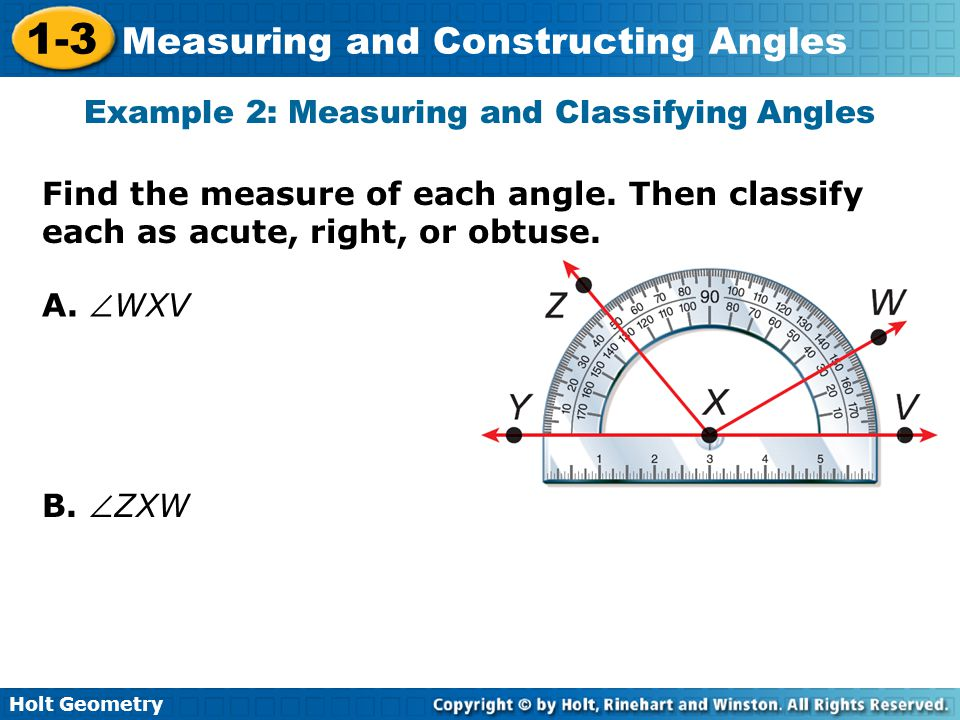 Example 2: Measuring and Classifying Angles
