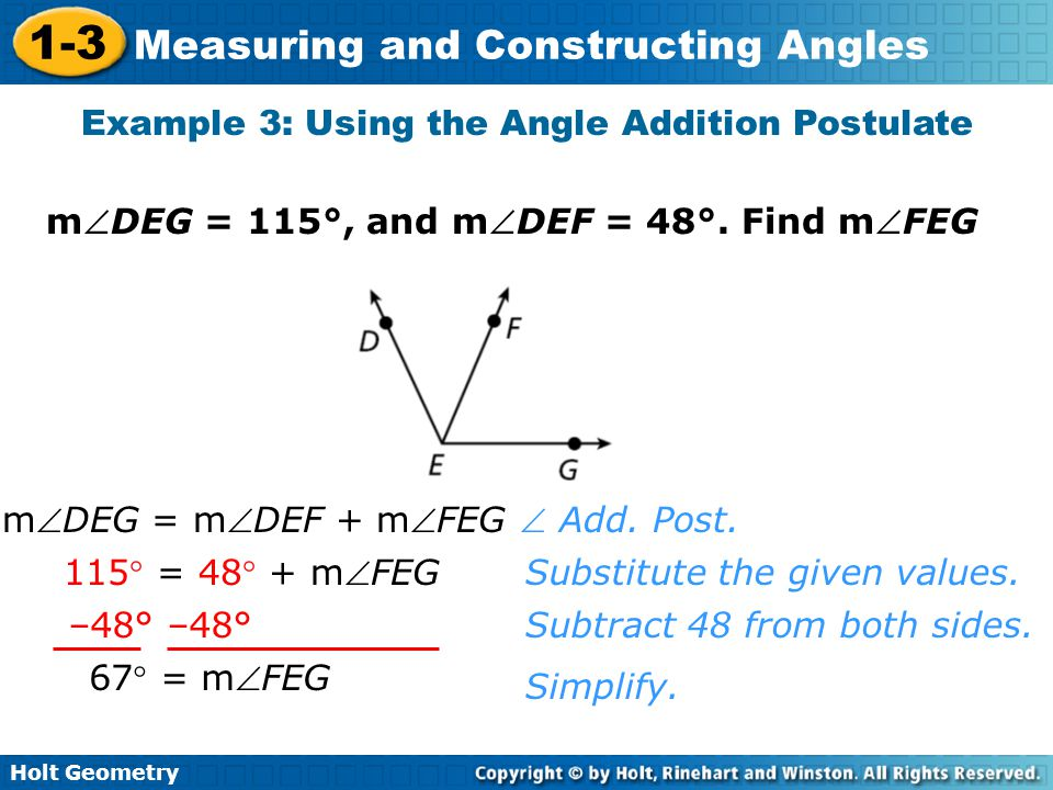 Example 3: Using the Angle Addition Postulate