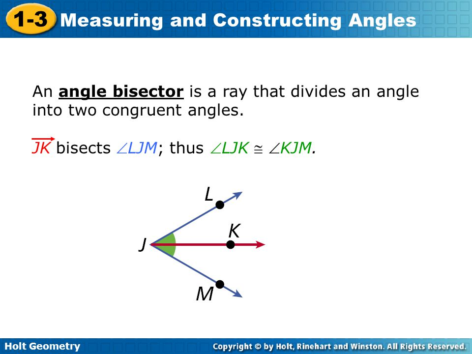 An angle bisector is a ray that divides an angle into two congruent angles.