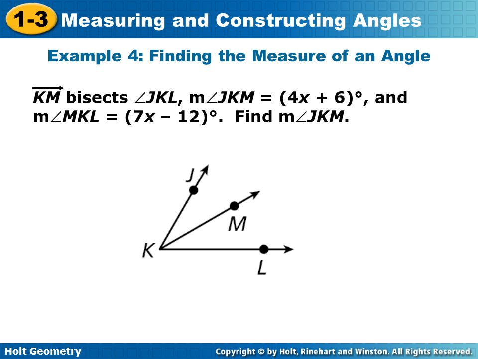 Measure Of An Angle : Measuring and constructing angles holt geometry ppt