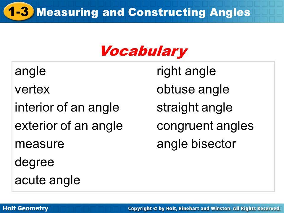 Vocabulary angle right angle vertex obtuse angle