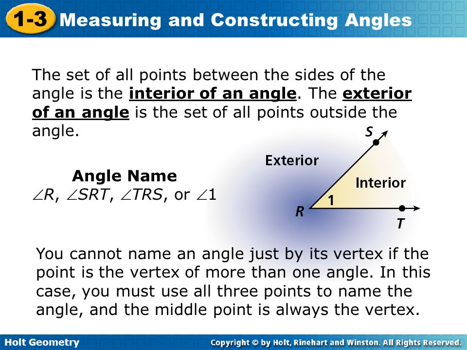 The set of all points between the sides of the angle is the interior of an angle. The exterior of an angle is the set of all points outside the angle.