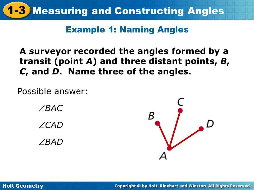 Example 1: Naming Angles