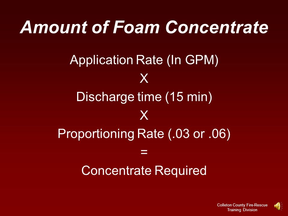 Amount of Foam Concentrate