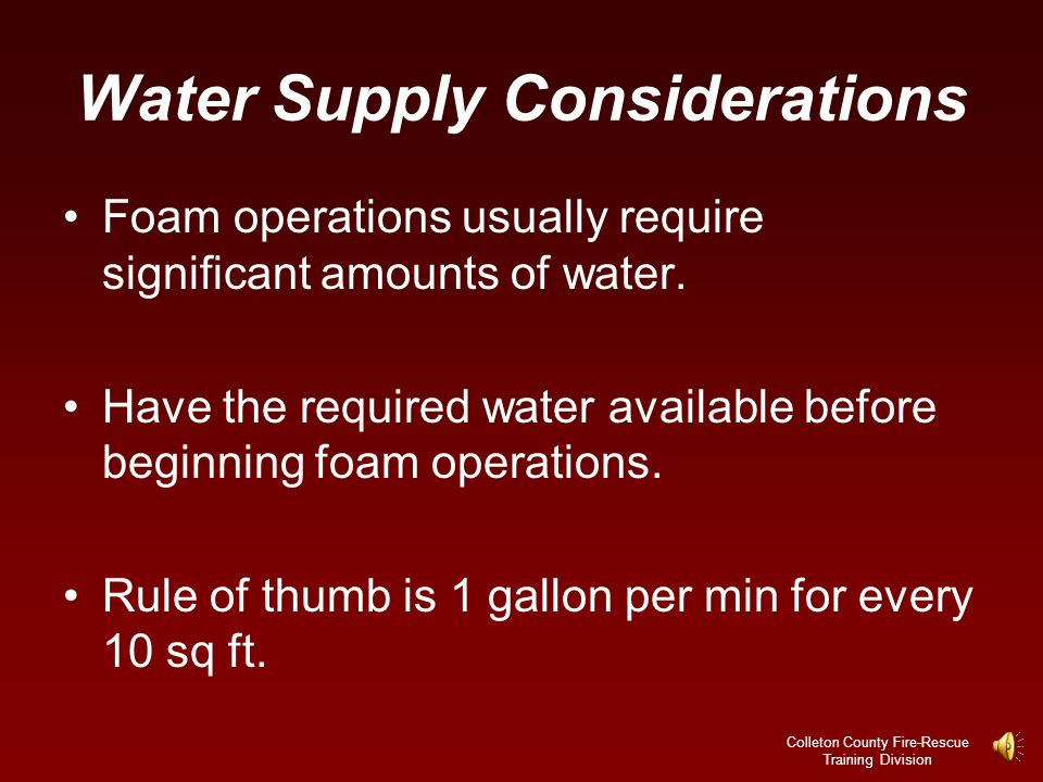 Water Supply Considerations
