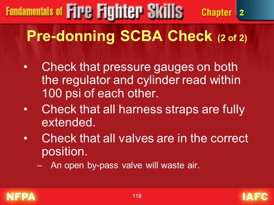 Pre-donning SCBA Check (2 of 2)