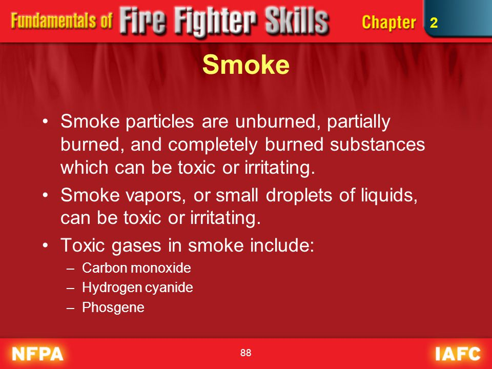 2 Smoke. Smoke particles are unburned, partially burned, and completely burned substances which can be toxic or irritating.
