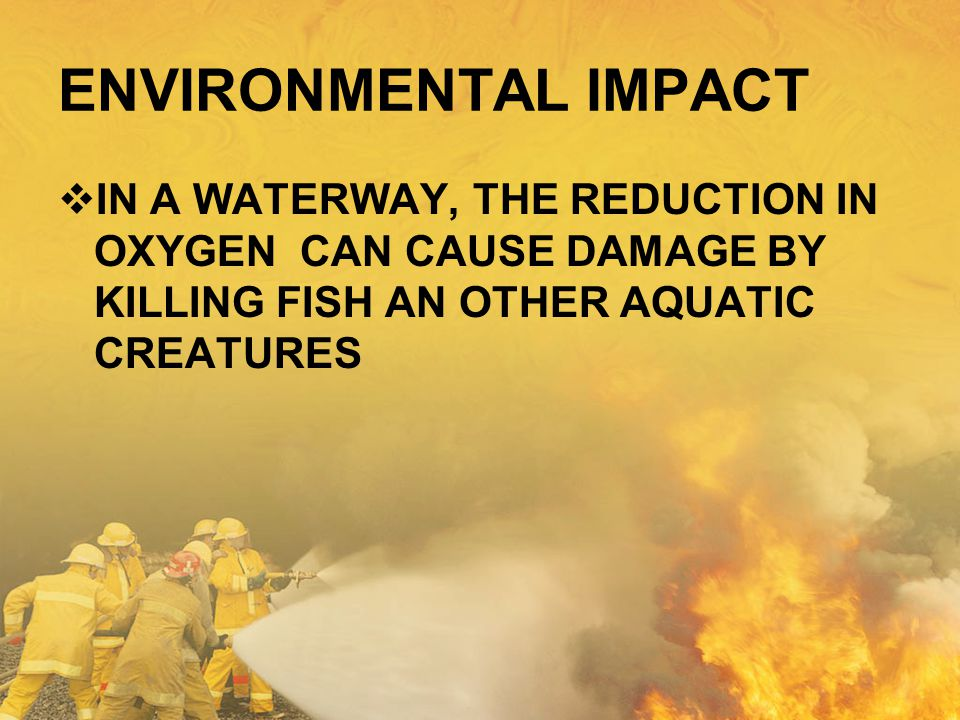 ENVIRONMENTAL IMPACT IN A WATERWAY, THE REDUCTION IN OXYGEN CAN CAUSE DAMAGE BY KILLING FISH AN OTHER AQUATIC CREATURES.