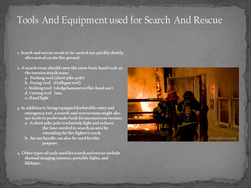 Tools And Equipment used for Search And Rescue