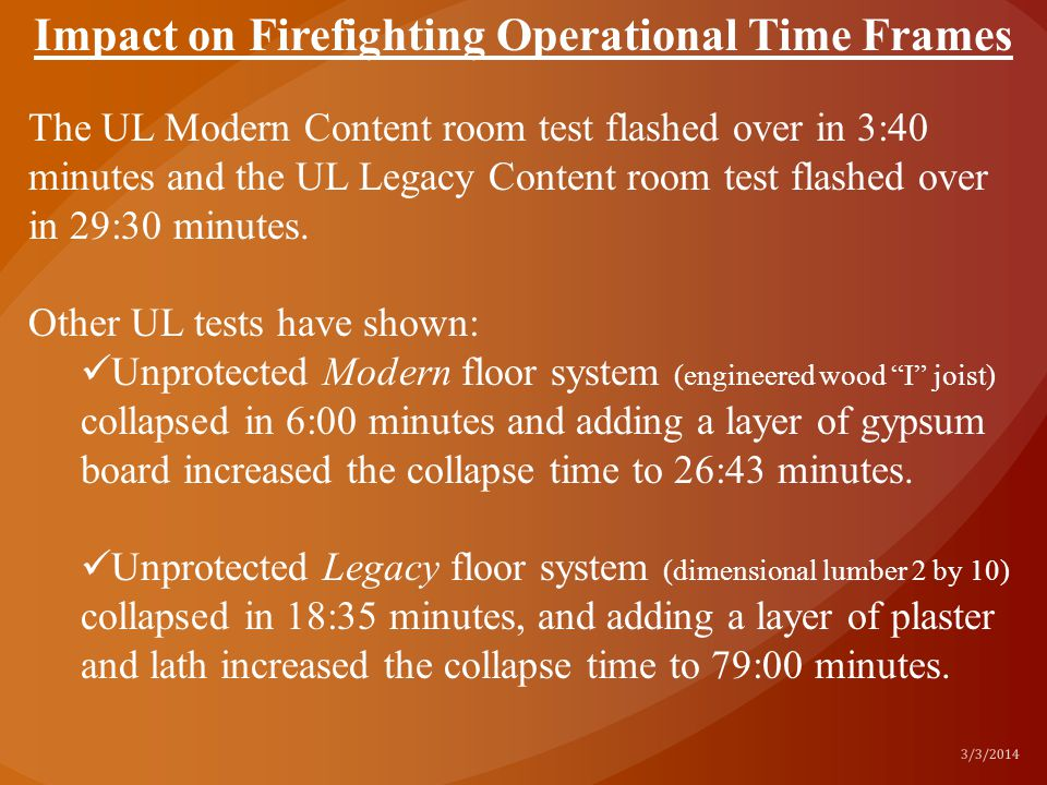 Impact on Firefighting Operational Time Frames