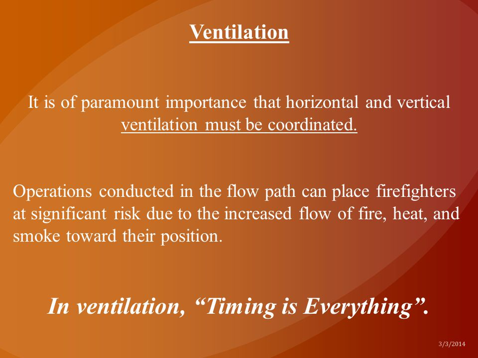 In ventilation, Timing is Everything .