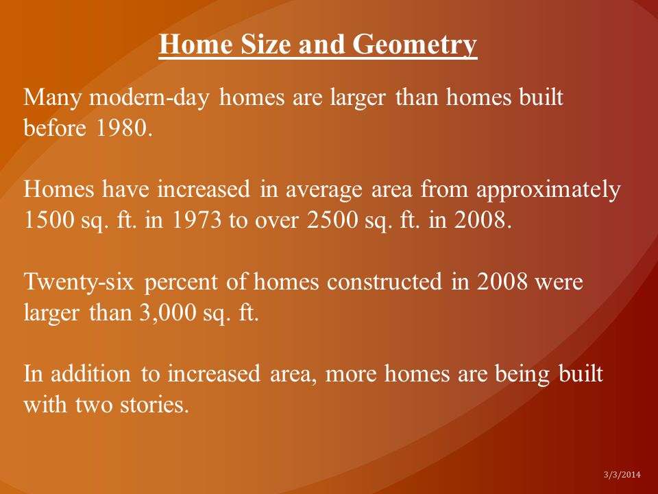 Home Size and Geometry Many modern-day homes are larger than homes built before 1980.