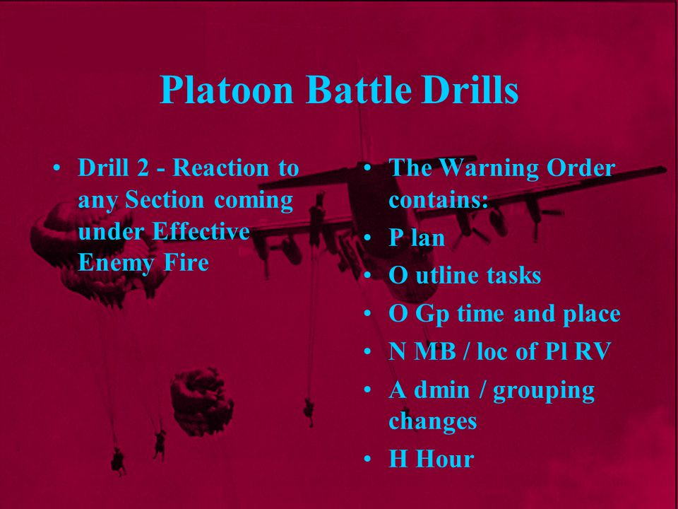 Platoon Battle Drills Drill 2 - Reaction to any Section coming under Effective Enemy Fire. The Warning Order contains: